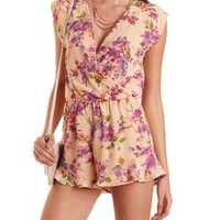 Floral Print Wrap Romper by Charlotte Russe