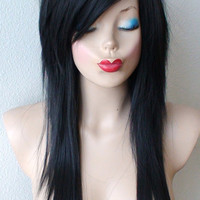 Scene wig. Black scene hairstyle wig. Emo wig. Emo hair Durable Heat resistant black hair wig for daily use or cosplay