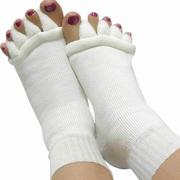 1pair Massage Five Toe Socks Fingers Separator For Toes Foot Alignment Pain Relief Socks For Woman Bunion Gel Guard Pedicure