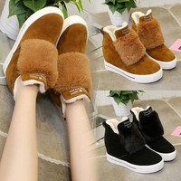 On Sale Hot Deal Matte Height Increase Winter Thick Crust Wedge Round-toe Zippers Rabbit Boots [11593328775]