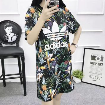 """Adidas"" Fashion Casual Multicolor Pineapple Toucan Print Short Sleeve T-shirt Mini Dr"