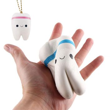 10.5CM Kawaii Jumbo Squishies Cute Teeth Soft PU Squishy Slow Rising Neck Strap Lanyards Cell Phone Key Ring Squeeze Pendant Toy