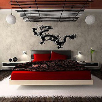 Japanese Dragon Asian Decor Bedroom Living Room Wall Art Sticker Decal D-66