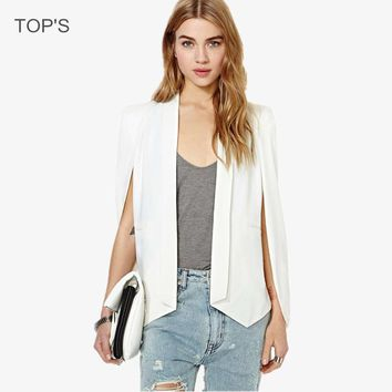Women 2015 Hot Sale Long Sleeve Blazer  Turn Down Collar Suit Jacket Solid Office Cape Blazer Feminino