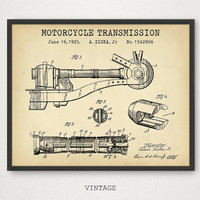Motorcycle Transmission Patent Artwork, Motorbike Poster, Engine Print, Digital Download, Motorcycle Enthusiast, Man Cave Decor Gallery Wall