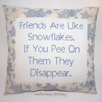 Funny Cross Stitch Pillow, Blue and Cream Pillow, Decorative Pillow, Friend Quote