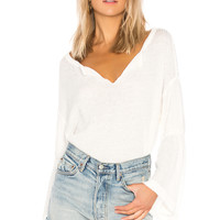 Free People Dahlia Thermal Pullover Sweater in Ivory