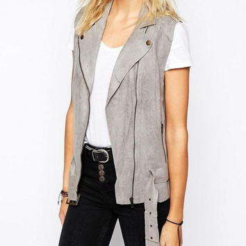 House of Harlow 1960 Stevie Faux Suede Moto Vest