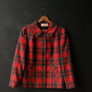 Vintage Pendleton Jacket Wool Womens Plaid Red and Dark Green Vintage From Nowvintage on Etsy