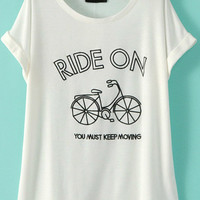 White Bicycle Print Short Sleeve Graphic Tee
