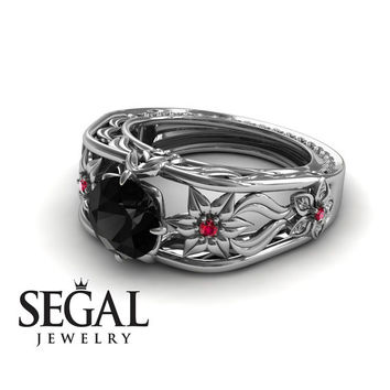 Unique Engagement Ring 14K White Gold Flowers Leafs Vintage Art Deco Ring Black Diamond With Ruby - Alexis