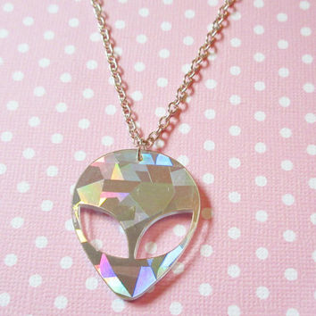 Holographic Alien Necklace, Pastel Goth Grunge 90s Alien Necklace