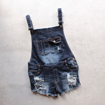 distressed denim overall short