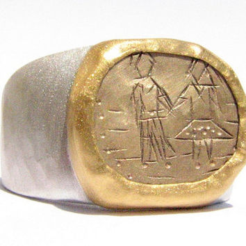 Engraved 14k gold ring 24k Solid Gold and Sterling by Ringsland