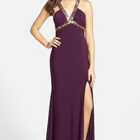 Junior Women's Hailey Logan Embellished Cage Back Gown