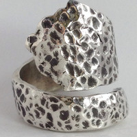 Size 9 Hammered Solid Sterling Spoon Ring by NotSoFlatware on Etsy