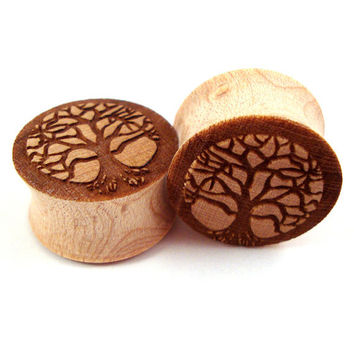 "Tree of Life Maple Wooden Plugs 2g (6mm) 0g (8mm) 00g (9mm) (10mm) 7/16"" (11mm) 1/2"" (13mm) 9/16"" (14mm) 5/8"" (16mm) 3/4"" 19mm 7/8"" 22mm 1"""