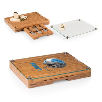 Detroit Lions 'Concerto' Glass Top Cheese Board & Tools Set-Bamboo Digital Print