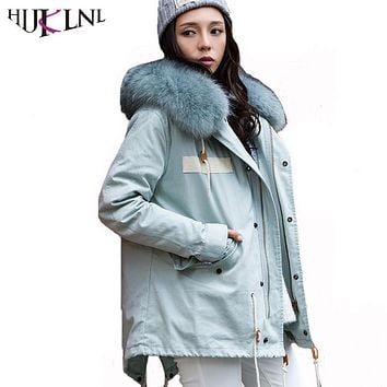HIJKLNL Puffer Jakcet Women Korean Detachable Thick Down Jacket 2017 Winter Hooded Fur Collar Duck Down Coat Parka Mujer NA368