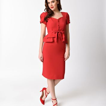 Stop Staring! 1940s Style Red Short Sleeve Rosemary Pencil Dress