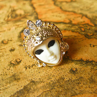 Egyptian Queen Crystal Ring White