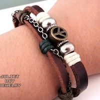 Peace sign rugged leather bracelet, peace sign addict bracelet.