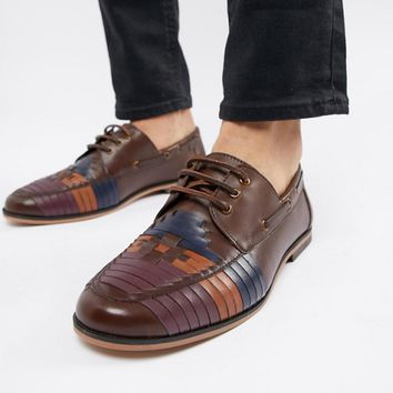ASOS DESIGN lace up shoes in brown leather with colour woven detail at asos.com