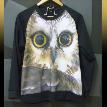 Face owl sweatshirt bird sweater jumper tees winter clothes size M/L one size/ long sleeve shirt/ pullover sweaters/ gifts