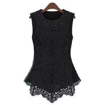 Black Lace Women Blouses 2017 Summer  3XL Bodycon Silm Blouse Sleeveless Solid Back Zipper Tops Chiffon Blouse Shirt