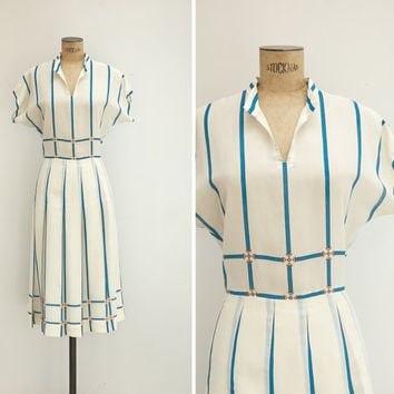 1950s Dress - Vintage 50s Scarf Print Dress - Cincha Dress