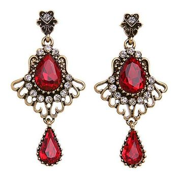 Pair of Chic Faux Ruby Heart Water Drop Earrings For Women   Red
