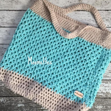 Handmade Market Bag Cotton Reusable Aqua Blue Beige Carry All Shopping Tote Sack Beach Bag Crochet