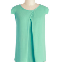 ModCloth Mid-length Cap Sleeves Jetsetter's Jewel Top in Mint