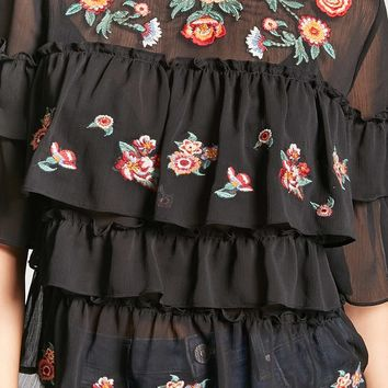 Floral Embroidered Chiffon Top