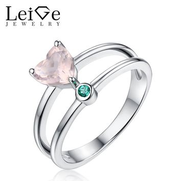 Leige Jewelry Natural Pink Quartz Ring Wedding Engagement Rings for Women Heart Cut 925 Sterling Silver Anniversary Gift