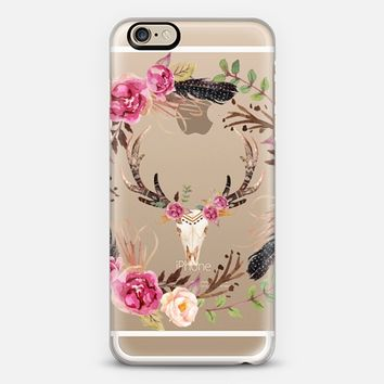 Watercolour Floral Deer Skull - Transparent iPhone 6 case by RubyRidgeStudios | Casetify