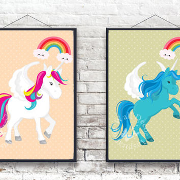 Cute Unicorns | Horses | Fantasy horse | Kids Room | Nursery Room | Art Print | Home Decor Print | Printable