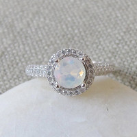 Ethiopian Opal Engagement Ring- Halo Ring- Wedding Ring- October Birthstone Ring- Anniversary Ring- Bridal Ring- Promise Ring- Promise Ring