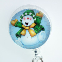 Christmas Happy Snowman Retractable ID Badge Holder - Belt Clip