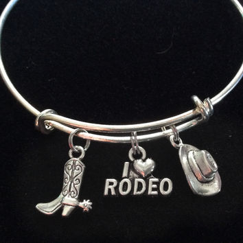 I Love Rodeo Expandable Adjustable Silver Wire Bangle Bracelet Gift Unique Trendy Western Cowboy Hat Boots Stacking