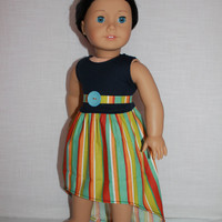 2 piece set!  navy high low tank dress, striped matching belt, 18 inch doll clothes, American girl, Maplelea