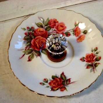 Jewelry display organizer, deep rose flowered vintage china dish with gorgeous clear diamond shaped glass knob
