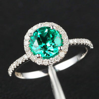 6.5mm Round Halo Ring Series - 14k Gold Emerald Engagement Ring & Diamond Halo, Other Options:Amethyst/Citrine/Pearl/Topaz/Peridot/Garnet