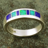 Sterling silver inlaid lapis and opal wedding band. | HilemanSilverJewelry - Jewelry on ArtFire