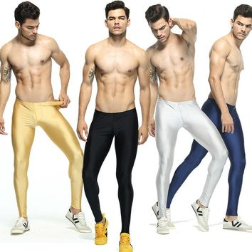 Men's Solid Color Running Tights Elastic Skinny Workout Leggings Basketball Mens Compression Tights Men Leggins Run