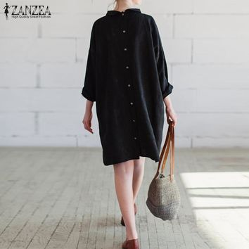 ZANZEA Women Dress Fashion Vintage Casual Loose Cotton Dresses Long Sleeve Knee Length Vestidos Plus Size