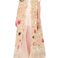 Floral Embroidered Vest with Raffia Hem