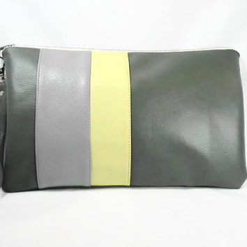 Gray Yellow Zippered  Vegan Leather Wristlet Clutch Rectangular Gray Yellow Purse Clutch Charcoal Gray Clutch Summer Clutch