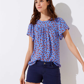Mini Floral Mixed Media Flutter Top | LOFT