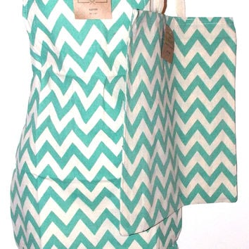 Green White Chevron Apron & Carry Bag Tote Set 2 Home Concepts Casa 100% Cotton